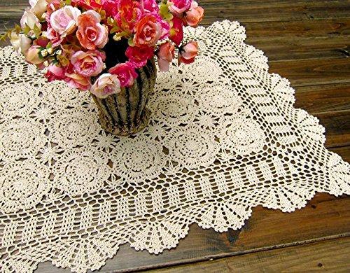 Damanni Rectangular Cotton Handmade Crochet Lace Table Runner Doilies...