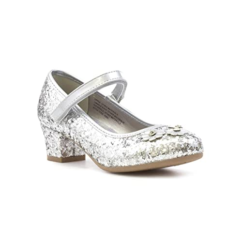 03c4343c763a Lilley Sparkle Girls Silver Easy Fasten Party Shoe