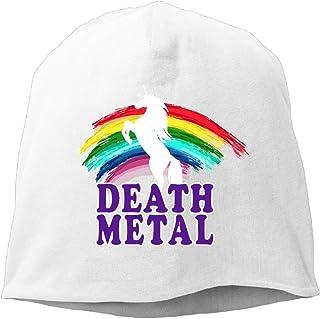 36928eb508798 Funny Death Metal Unicorn Rainbow Unisex Knit Hat Soft Stretch Beanies  Skull Cap Hedging Cap Black