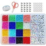 Cuentas de Colores 3mm Semillas Abalorios (8/0) con 6mm Cuentas del Alfabeto (Negro y colorido) Colores Mezclados Pequeño Abalorios Set para DIY Pulseras Collares Bisutería (3mm)