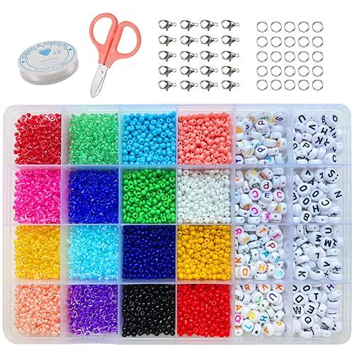 Cuentas de Colores 2mm Semillas Abalorios (8/0) con 6mm Cuentas del Alfabeto (Negro y colorido) Colores Mezclados Pequeño Abalorios Set para DIY Pulseras Collares Bisutería (2-MM)
