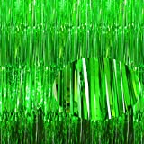 2 Packs 3.2ft x9.8ft Shimmer Green Metallic Tinsel Curtain Shiny Foil Fringe Curtain Photo Backdrop for Jungle Safari Party ,Football Game Day Birthday Party Baby Shower Dinosaur Halloween Christmas Door Windows Wall Decoration