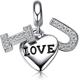 i'ange's I Love U Bead Charms, 925 Sterling Silver Dangle Charms with Crystals for Bracelets