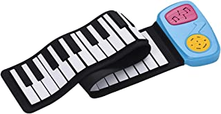 Decdeal Portable 49-Key Silicon Electronic Keyboard Roll-Up Piano Built-in Speaker With Cartoon Sticker for Children Kids
