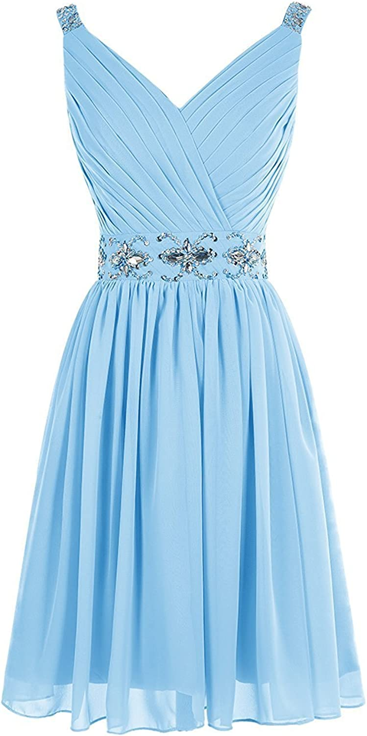DianSheng Short VNeck Bridesmaid Dress Aline Homecoming Party Gown with Beads CK332