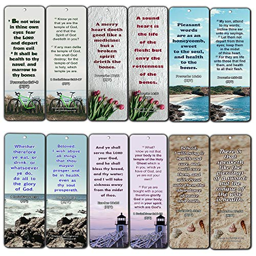 KJV Religious Bookmarks - Bible Verses About Health (30 Pack) - Handy Bible Scriptures About About Health in The Bible Perspective