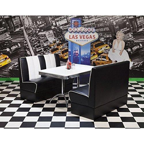 Lomadox American Diner Polsterbank Sitzgruppe, 2 Polsterbänke in Kunstleder schwarz/weiß mit 120cm Bistrotisch