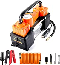 AutoVirazh Dual Cylinder Portable Air Compressor for Car Tires: 12 Volt Electric Car Tire Inflator Pump with Gauge, 150 PSI Small Compressor Tanks for Automobiles, Bikes & Inflatables