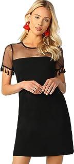Milumia Women`s Contrast Mesh Sheer top Tassel Short Sleeve Tunic Short Dress