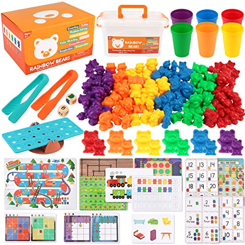 Boogem 115Pcs Counting Bears Toys Set, Rainbow Counting Bears with Color Matching Sorting Cups, Montessori Game Toys STEM Educational Toys for Toddlers and Kids Boy Girl Baby
