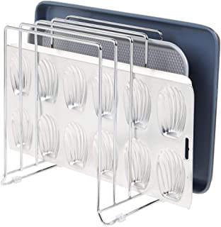 mDesign Large Metal Wire Organizer Rack for Kitchen Cabinet, Pantry, Shelves - Organizer Holder with 5 Slots for Skillets, Frying Pans, Lids, Cutting Boards, Vertical or Horizontal Placement - Chrome