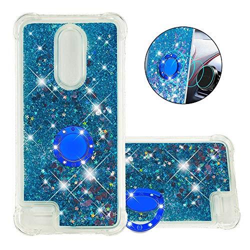FAWUMAN Coque pour LG K10(2018) / LG K30,Brillante Cristal Diamant Anneau Socle de téléphone Liquide Dégradé Transparente Silicone TPU Étui Antichoc Coques(Amour Bleu)