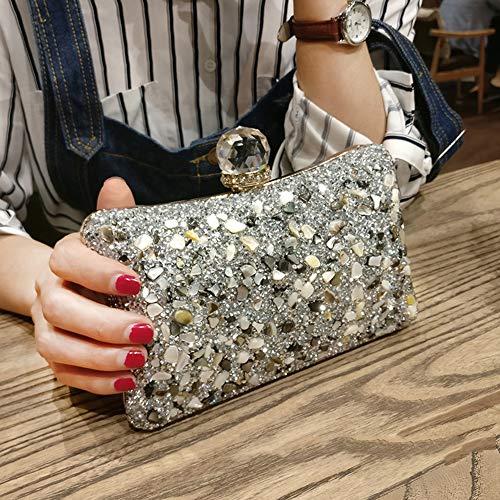 Cadena de Tarde de Las señoras Bolsa de Embrague Bolsa de Diamantes de Diamantes de imitación Brillante Bolso Bolso pequeño para la Fiesta de la Boda,Plata