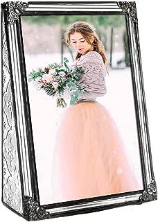 J Devlin Pic 360-46V Vintage Clear Stained Glass Picture Frame Wedding Photo Frame Keepsake Gift Tabletop 4x6 Vertical