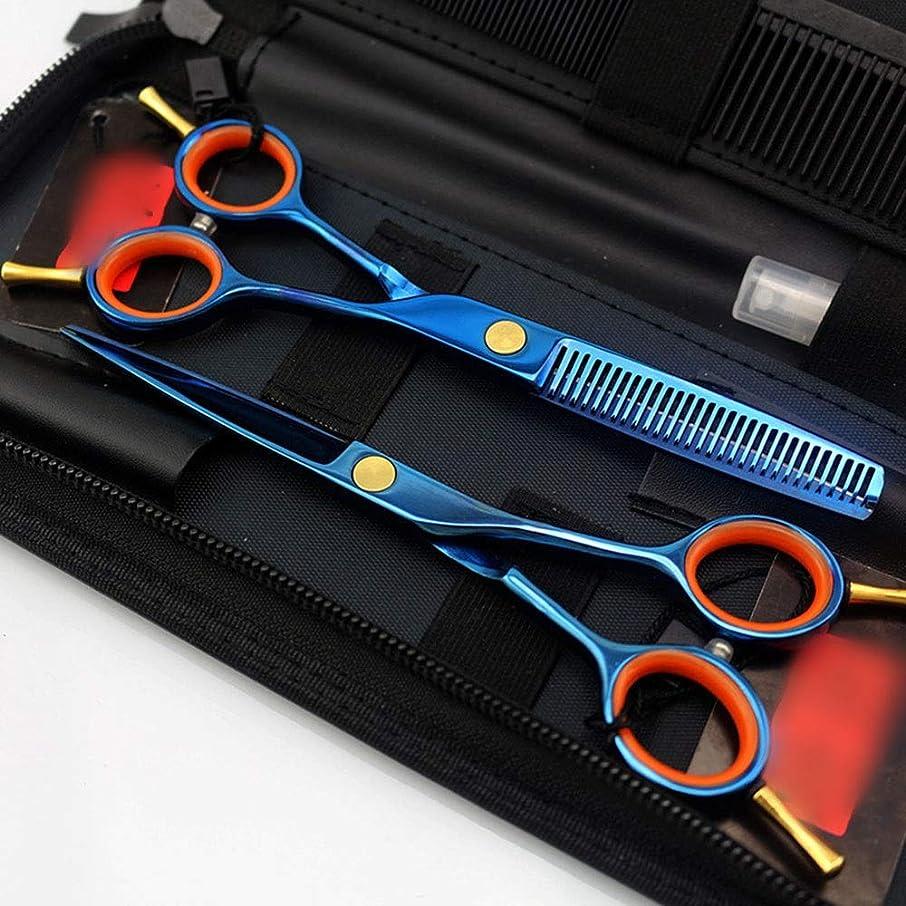 アブストラクトロードされた判決5.5インチブルーメッキダブルテール理髪はさみセット、美容院プロのヘアカットセット モデリングツール (色 : 青)