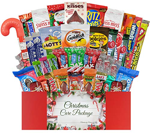 40 CT Christmas Care Package for College Students, Men, Women, Kids or Military - Variety Snack Pack Assortment of Candy, Chocolate, Crackers, Cookies and Snacks - Movie Night Supplies (Christmas)