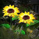 Luces solares girasol LED, 2 paquetes de luces solares flores IP65 a prueba agua, duraderas, encendido/apagado automático, lámpara solar girasoles Lámpara luz camino paisaje al aire libre para jardín