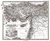 Large Posters MAP Antique 1873 PERTHES Turkey Syria