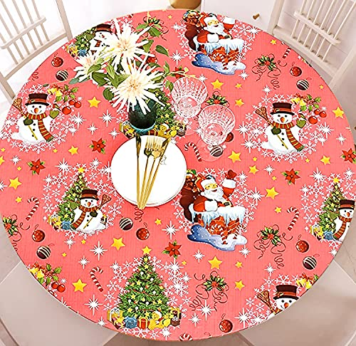 Christmas Round Tablecloth, FGSAEOR Vinyl Fitted Table Cover with Flannel Backing Elastic Edge, Waterproof Wipeable Patio Table Cloths for Round Table...