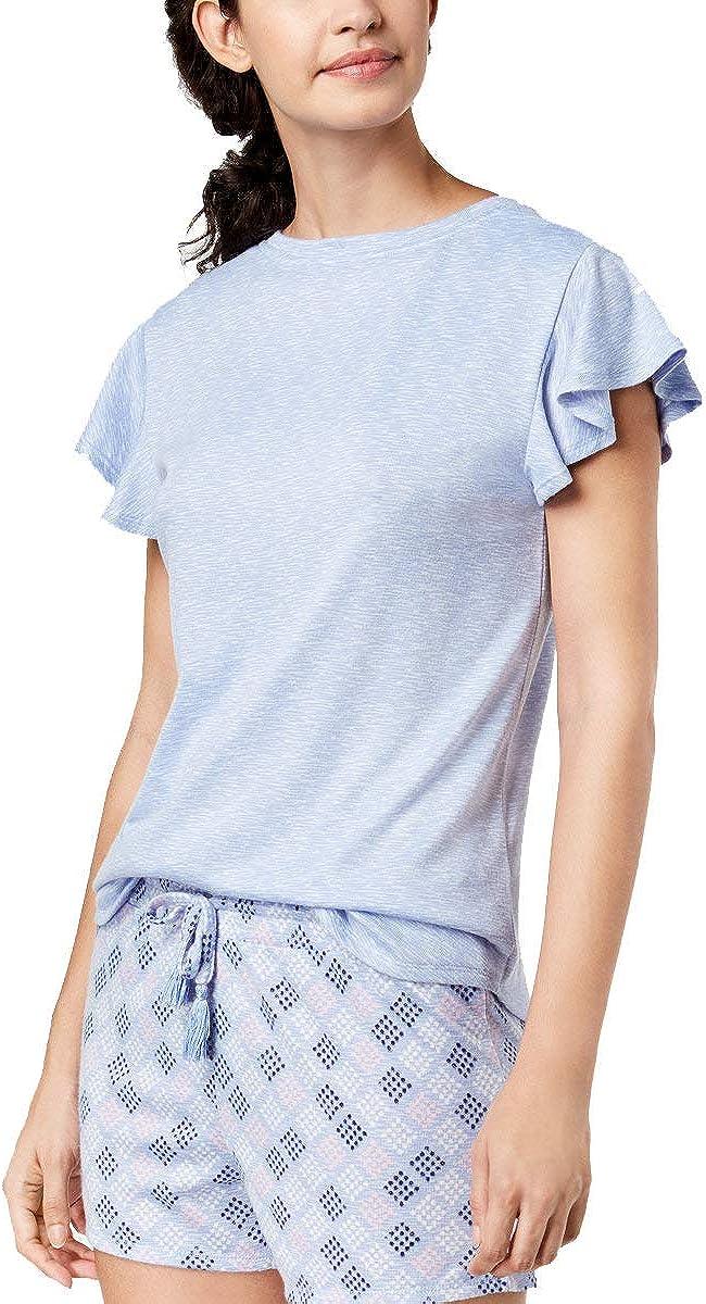 ANDE Whisperluxe shipfree Flutter-Sleeve Sale SALE% OFF Pajama Top Blue Medium