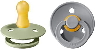 BIBS Schnuller Colour 2er Pack, Naturkautschuk, dänische Schnuller mit Kirschform. Sage/Cloud, Größe 1 0-6 Monate