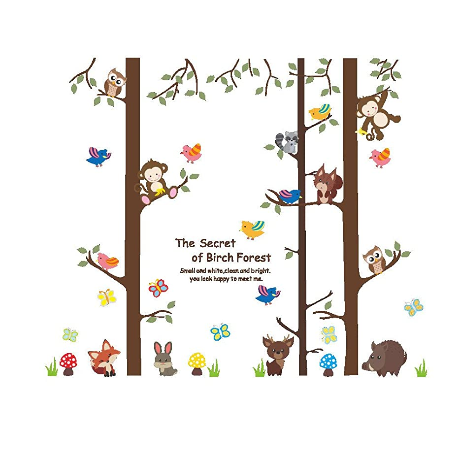 Angel3292 Lovely Animal Forest Swing Kids Bedroom Living Room Wall Sticker DIY Decals (2#)