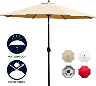 Sunnyglade 11Ft Patio Umbrella Garden Canopy Outdoor Table Market Umbrella with Tilt and Crank (Tan)
