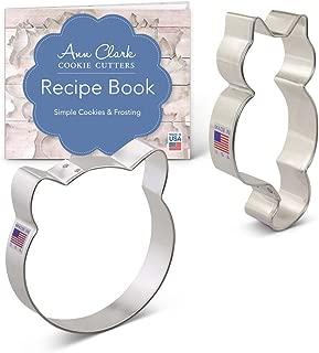 Ann Clark Cookie Cutters 2-Piece Cat Cookie Cutter Set with Recipe Booklet, Cat Face & Cute Kitty Cat