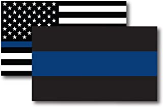 Thin Blue Line and Thin Blue Line American Flag Magnet Decal 3x5 - Heavy Duty for Car Truck SUV - 2 Pack - in Support of Police and Law Enforcement Officers