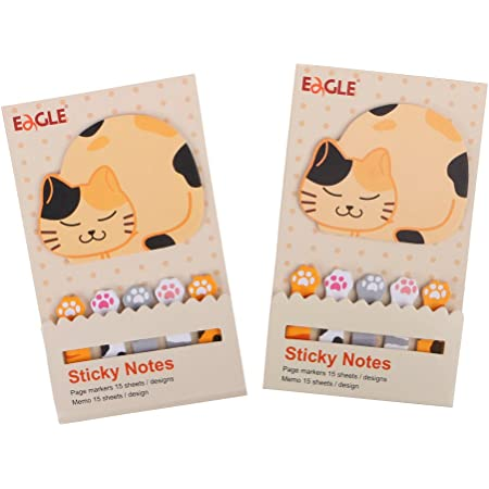 Eagle Cute Cartoon Animal Sticky Notes, Page Markers, Flags, Pack of 2 (Cat)