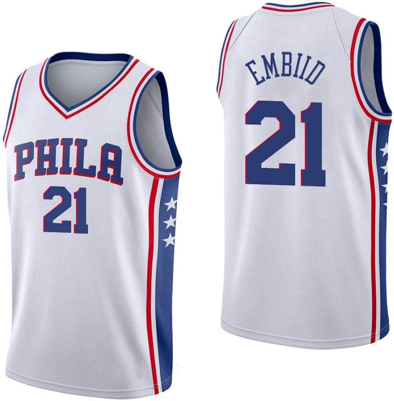 Joel Embiid   21 Herren Basketballtrikot - NBA Philadelphia 76ers, New Fabric Embroiderot Swingman Jersey rmelloses Shirt