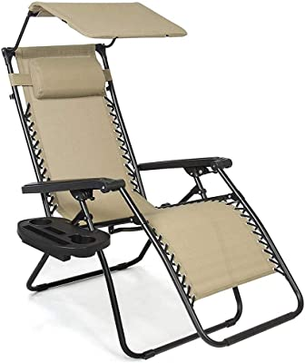 Exercise bike Folding Sun Lounger with Canopy Shade and Cup Holder, Widen Chair Surface Zero Gravity Recliner, for Pool Side Outdoor Yard Beach Deck - Beige