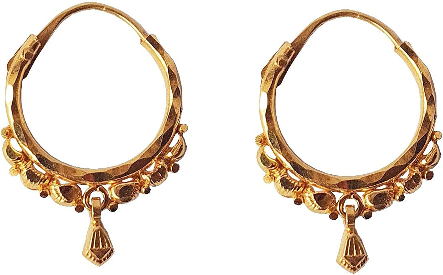 Certified Solid 22K/18K Yellow Fine Gold Unique Hanged Leaf Design Hoop Earrings Available In Both 22 Carat And 18 Carat Fine Gold,Size Height-10MM Width-10MM For Women,Girls,Kids,Men's Bali,Gifts