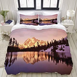 WINCAN Duvet Cover Twin Size Snow Capped Mt Shuksan and Lake at Sunset Evening National Forest Washington 3pc Bedding Set (1 Duvet Cover and 2 Pillow Shams) 68