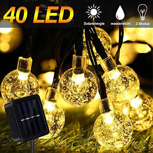 LED Solar Lichterkette Aussen, 40 LED 13Ft Warmweiß Außenleuchten Wasserdichte Kristallkugel Lichterketten Dekoration für Weihnachtsbaum, Hochzeiten und Garten Patio Yard Partys