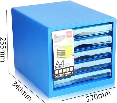 QFFL zhuomianshujia Ordner-Aufbewahrungsbox PP-Material Desktop-Aktenschr e Schubladentyp Büroablage (3 Farben, 4 Stile) Bücherregale (Farbe   Blau1)