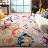 Safavieh Monaco Collection MNC242F Ogee Trellis Watercolor Distressed Non-Shedding Stain Resistant Living Room Bedroom Area Rug, 8' x 10', Multi