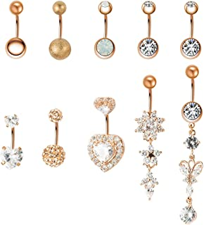 10-11PCS 14G Stainless Steel Belly Button Rings CZ Butterfly Heart Dangling Dangle Navel Ring Body Piercing