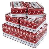 MACOSA EB400696 5er Set Gebäckdosen | Metall | Stapelbare Keks-Dose | Aufbewahrungsdose | Plätzchen Vorratsdose | Geschenk Verpackung | Blechdose