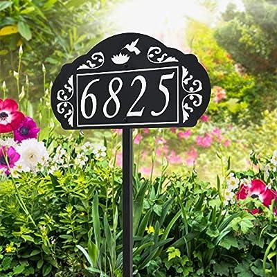 Hummingbird & Flower Reflective Garden Address Sign - USA Hand Crafted