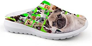 Men's Slippers Mesh Clog Beach Shoes Funny Pug Animal Dog Design Non-Slip Sandals Boys Casual Shoes Closed Toe Garden Shoes