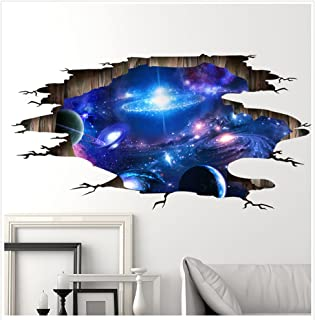 Kaimao Wall Decal 3d Mural a Corner of Cosmic Removable Wall Stickers for Wall and Ceiling Home Decor