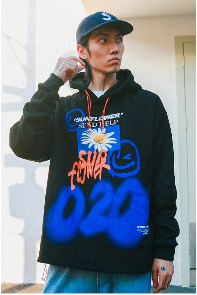 LMSHD Sweat À Capuche Hip Hop Streetwear Hommes Tournesol Graffiti Imprimé Pull Coton Harajuku Sweat Décontracté À Fleurs Noir
