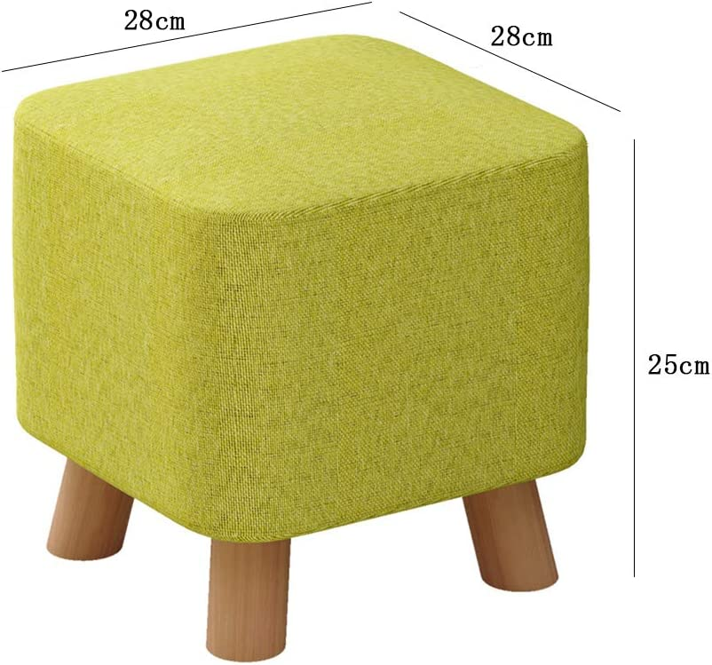 Tabouret en tissu de coton et lin avec rembourrage en éponge hautement élastique, lavable, doux et durable, stable - 4 pieds de tabouret avec coussinets antidérapants A D