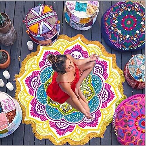 DXSX Bohemia Mandala de Microfibra Toallas de Playa Redondo Mantel Colchoneta de Picnic Tapiz Decoración del hogar Adecuado para Damas (Bohemia #5)