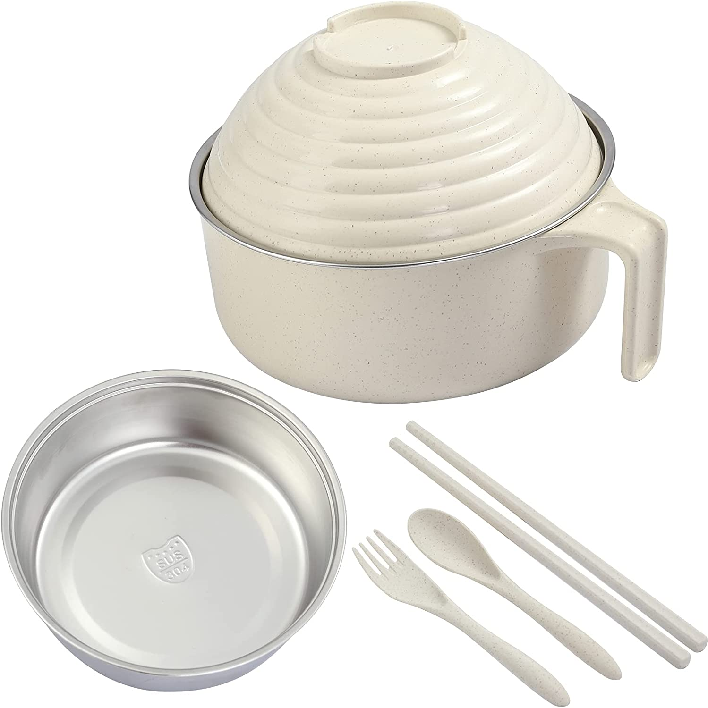 Ramen Cooker Bowls set, Premium 304 Stainless Steel Liner Ramen Cooker Microwave Pasta Noodle Bowl kit Included Chopsticks spoon Fork Home College Dorm Room Essentials for Girls Boys, BPA Free