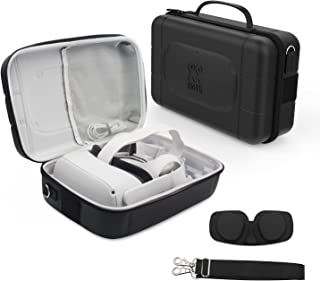 AMVR PU Leather Fashion Travel Case for Storage Oculus Quest VR Gaming Headset and Touch Controllers,Gamepad,Mobile Power ...