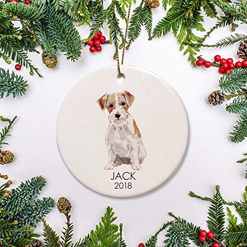 Lplpol Jack Russell Dog Christmas Ornament Personalized Ornament Jack Russell for Dog Lover Dogs 1St Christmas Family Dog Gift Ceramic Xmas Tree Hanging Keepsake Pedemant, BST1647