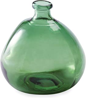 Mud Pie Recycled Green Spanish Rounded Large Glass Vase,