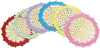 Set 6 posavasos beige con borde de color de ganchillo - Tamaño: ø 11.5 cm - Handmade - ITALY
